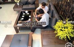 Sofa gỗ óc chó hiện đại, cao cấp