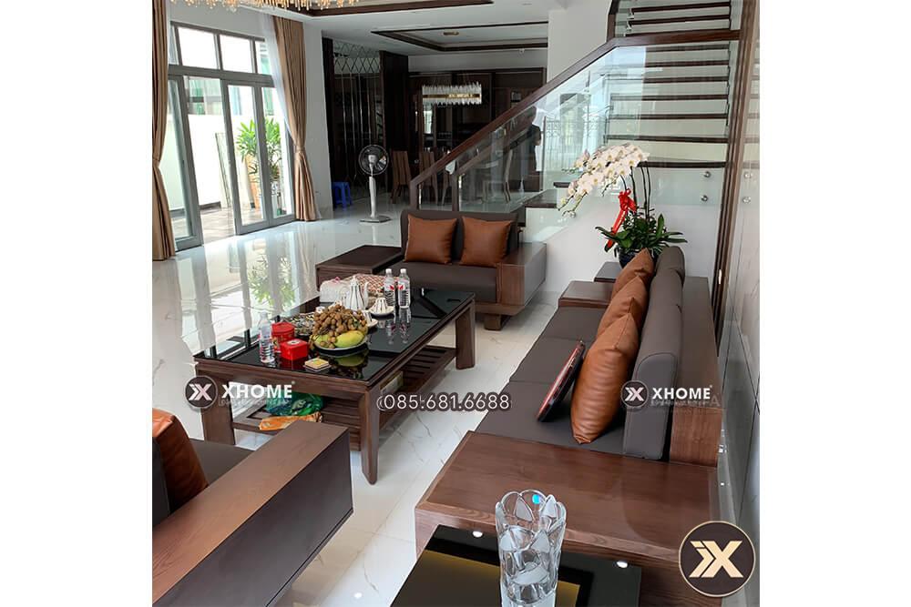 Sofa go cao cap cho phong khach SF22 3 - Sofa gỗ chữ U sang trọng SF22