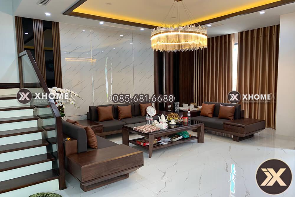 Sofa go cao cap cho phong khach SF22 5 - Tổng hợp mẫu bàn ghế sofa gỗ chữ U cao cấp cho phòng khách hiện đại