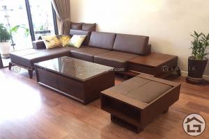 Sofa gỗ chữ L cho phòng khách nhỏ