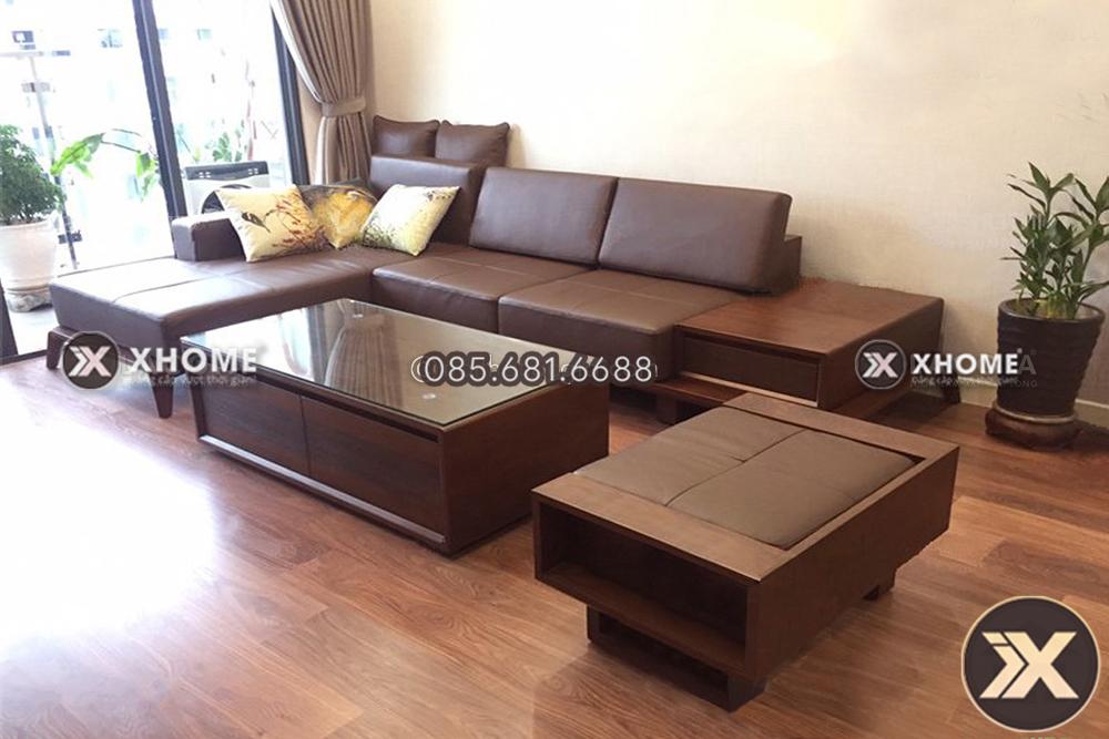 Sofa go chu L cao cap SF25 2 - Sofa gỗ góc nhỏ chữ L - Chuyên gia tối ưu diện tích không gian sống
