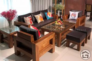 Bàn ghế gỗ đẹp cho phòng khách rộng