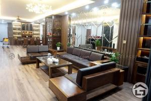 Sofa gỗ chữ U cao cấp, hiện đại
