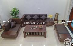 Sofa gỗ óc chó cao cấp cho phòng khách đẹp