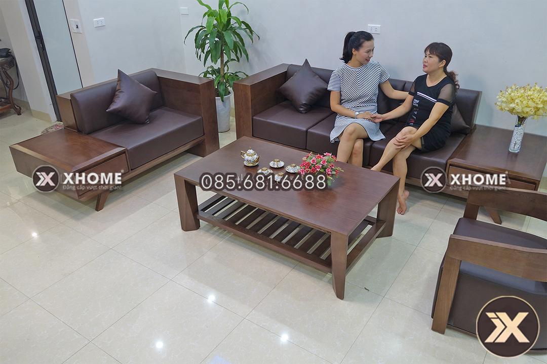 sofa go cao cap chu L SF09 - Sofa gỗ đẹp SF09