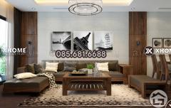 Sofa gỗ chữ L nhỏ gọn cho chung cư