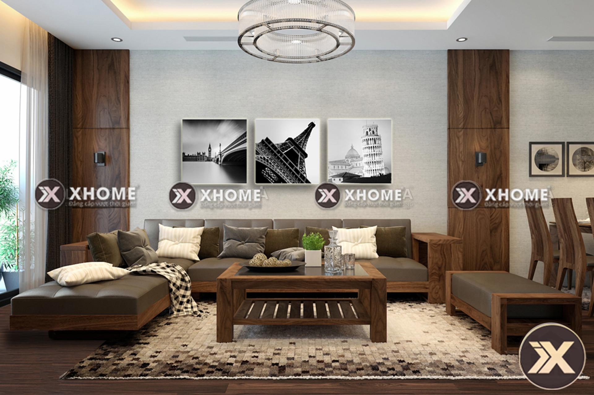 sofa go chu L cao cap SF01 - Kích thước tiêu chuẩn của sofa gỗ chữ L hiện đại
