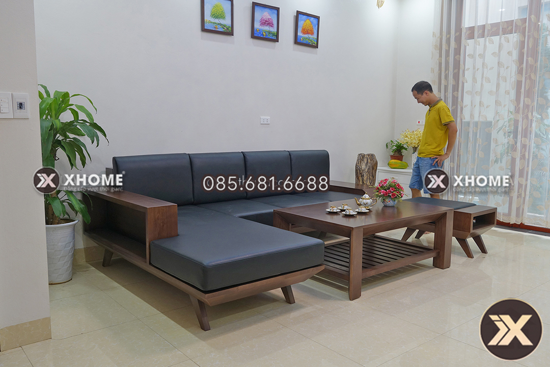 sofa go chu L cho phong khach nho SF05 4 - Sofa gỗ chữ L đẹp SF05