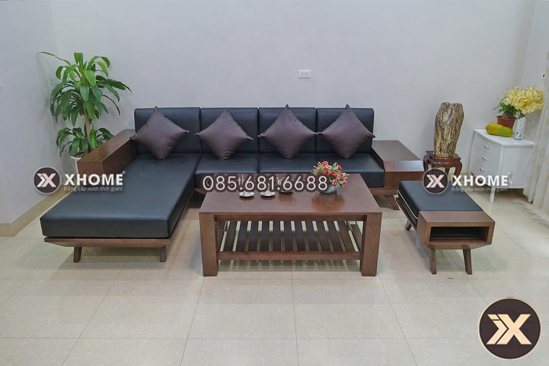 sofa go chu L cho phong khach nho SF05 - Sofa gỗ góc nhỏ chữ L - Chuyên gia tối ưu diện tích không gian sống