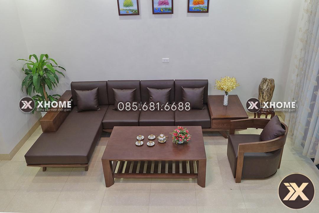 sofa go chu L hien dai sang trong SF11 2 - Sofa gỗ góc nhỏ chữ L - Chuyên gia tối ưu diện tích không gian sống