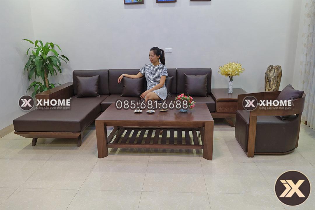 Mẫu sofa gỗ chữ L hiện đại, sang trọng cao cấp