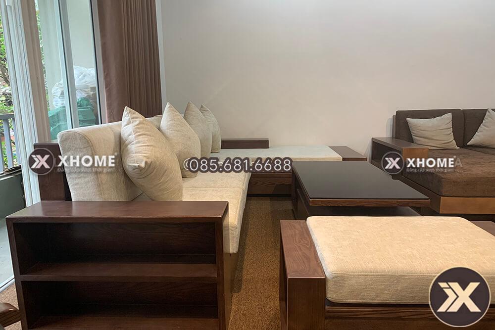 sofa go goc chu L SF24 - Sofa gỗ chữ L nhỏ gọn SF24