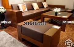 Sofa gỗ chữ L hiện đại