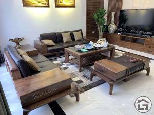 Ghế sofa gỗ óc chó cao cấp cho phòng khách hiện đại