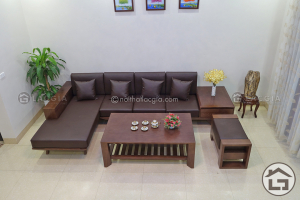 sofa gỗ tự nhiên chữ L có ngăn kéo