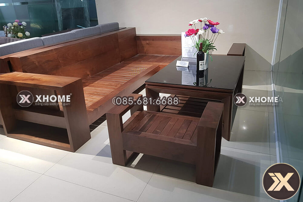 Sofa gỗ chữ L đẹp, hiện đại, bán chạy nhất thị trường 2019