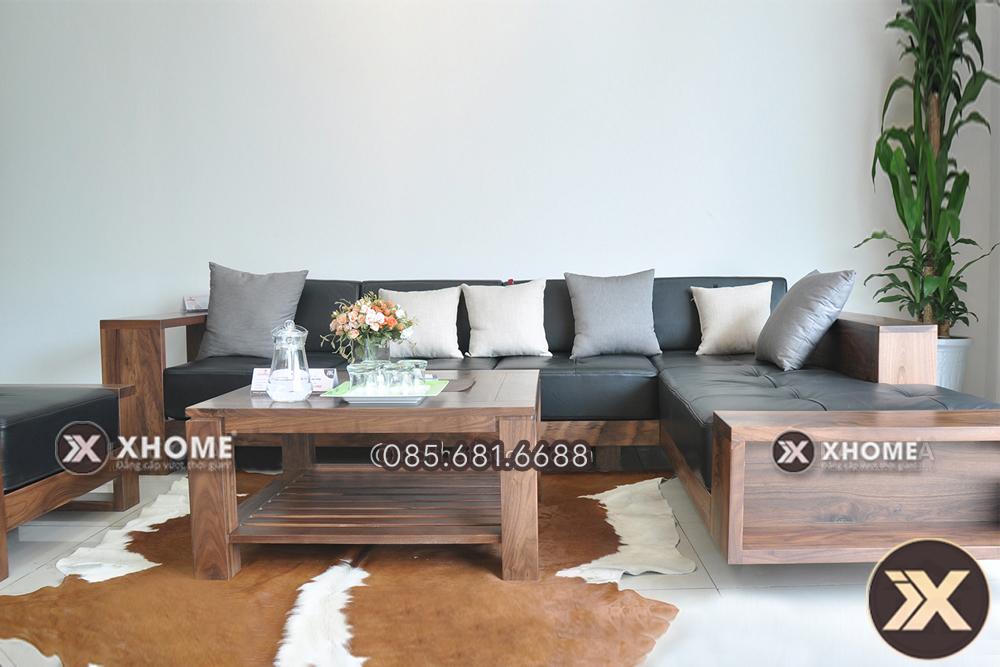 sofa go tu nhien dep sang trong SF04 - Cách lựa chọn bàn trà gỗ cao cấp phù hợp với bộ sofa gỗ hiện đại