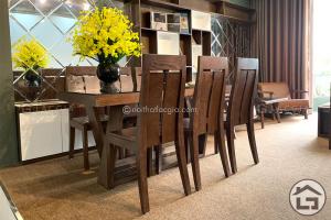 Bộ bàn ăn gỗ cao cấp, bàn ghế ăn hiện đại
