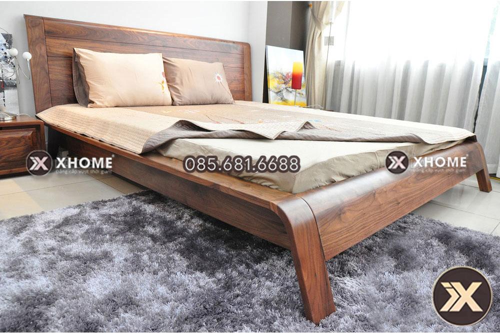 Giường ngủ gỗ óc chó mang kiểu dáng hiện đại, trẻ trung