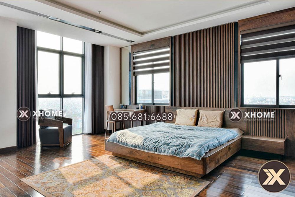 Vách gỗ đầu giường đem lại thẩm mỹ và phong thủy tuyệt vời