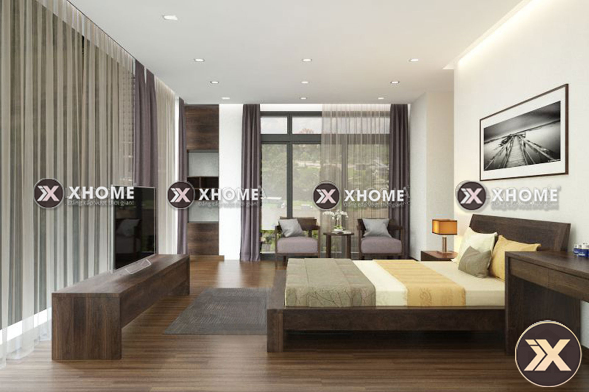 giuong ngu go tu nhien gn05 3 - 3 kiểu nội thất phòng ngủ đẹp, hiện đại mà bạn nên quan tâm.