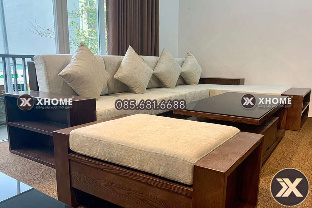SF24 - Mẫu sofa gỗ nhỏ gọn hiện đại