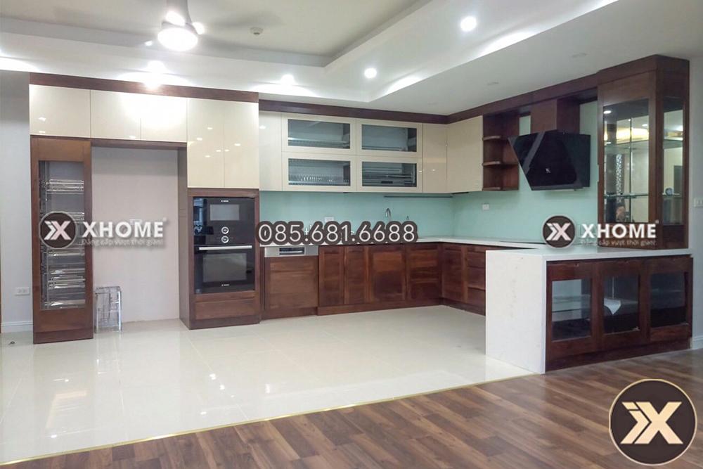 tu bep go veneer tb07 - 4 yếu tố quan trọng ảnh hưởng tới thiết kế nội thất với tủ bếp
