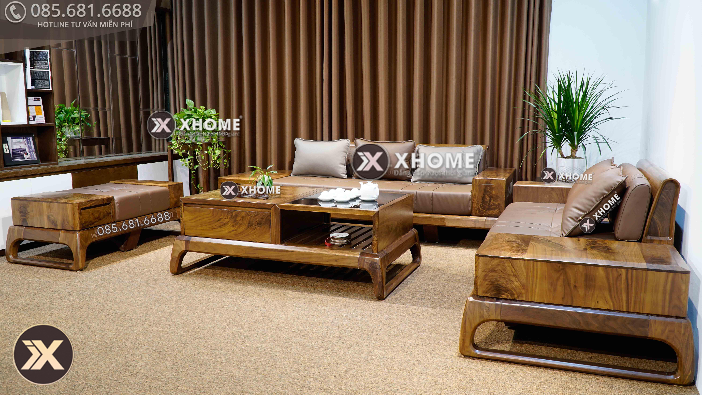 Bộ sofa gỗ óc chó với thiết kế độc đáo, sáng tạo