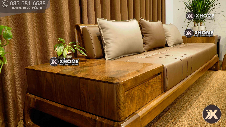 Bộ sofa gỗ óc chó hiện đại với từng chi tiết đều được chăm chút tỉ mỉ, sắc nét